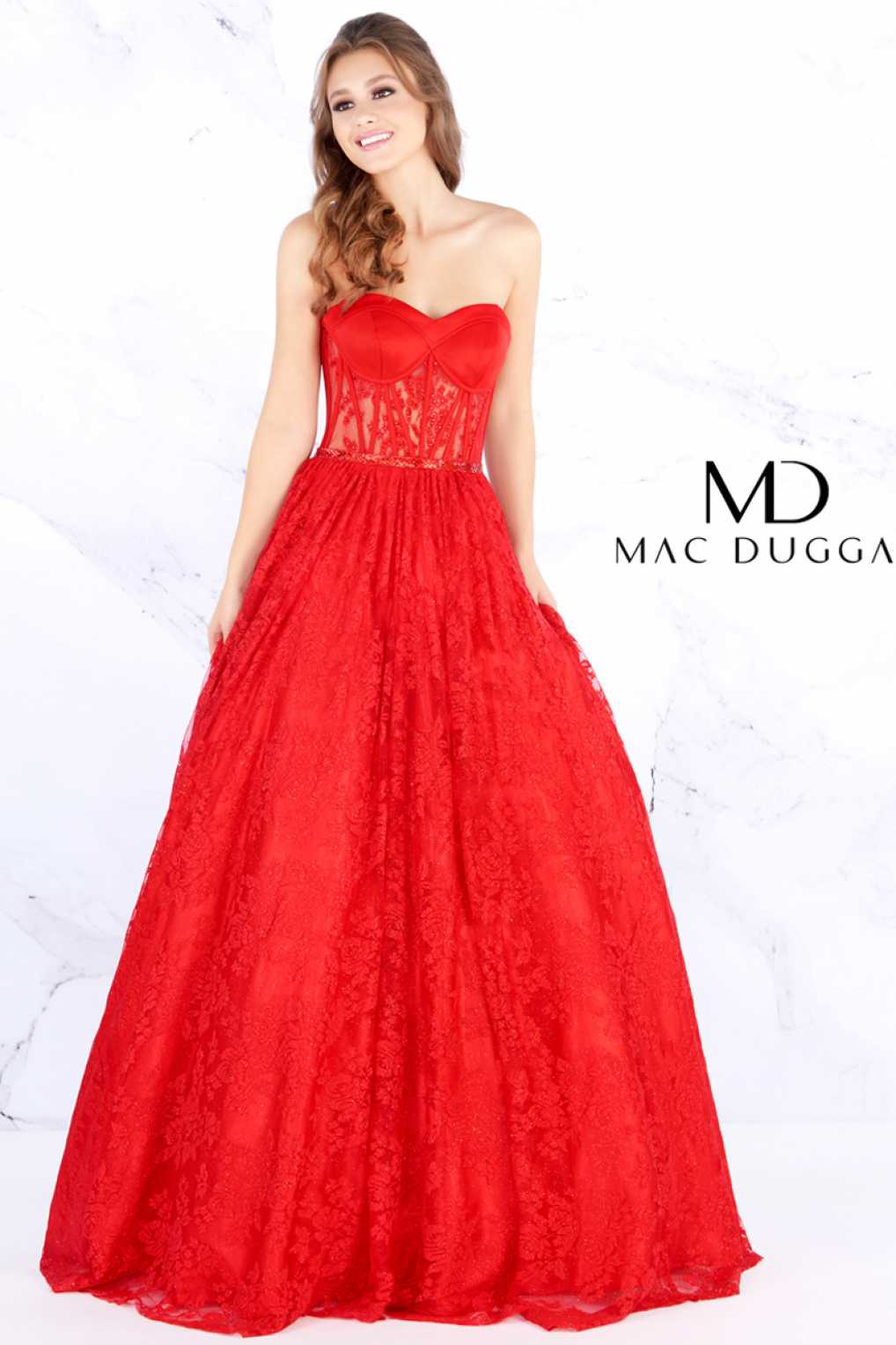 Mac Duggal 30605M  Lace Prom Dress